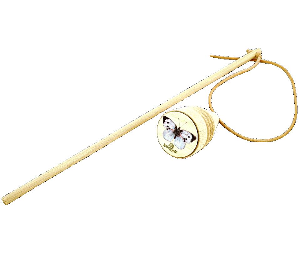 Dřevěná káča s bičíkem bělásek