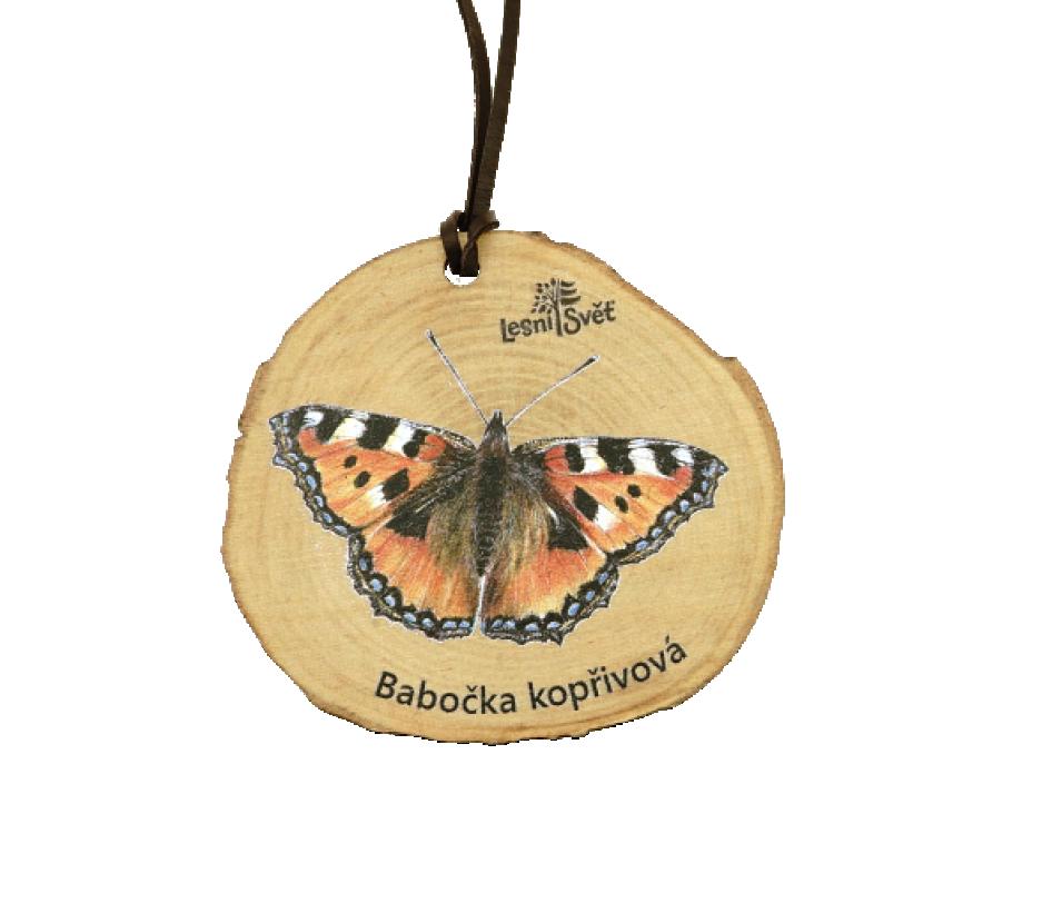 Dřevěná medaile letokruh babočka kopřivová