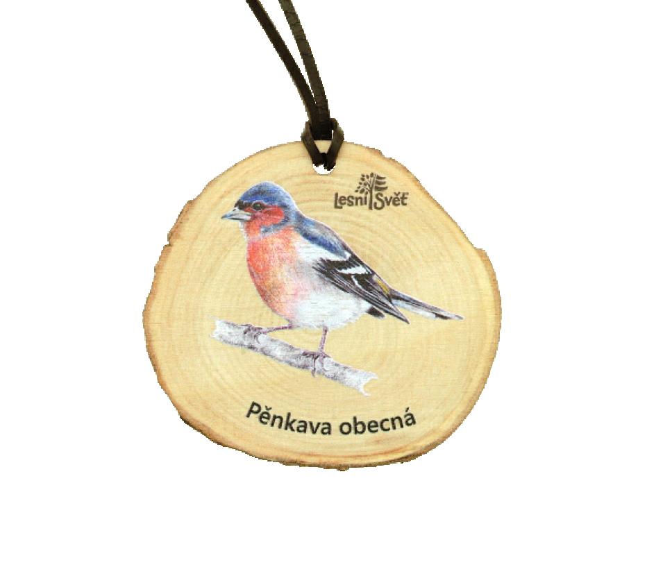 Dřevěná medaile letokruh pěnkava