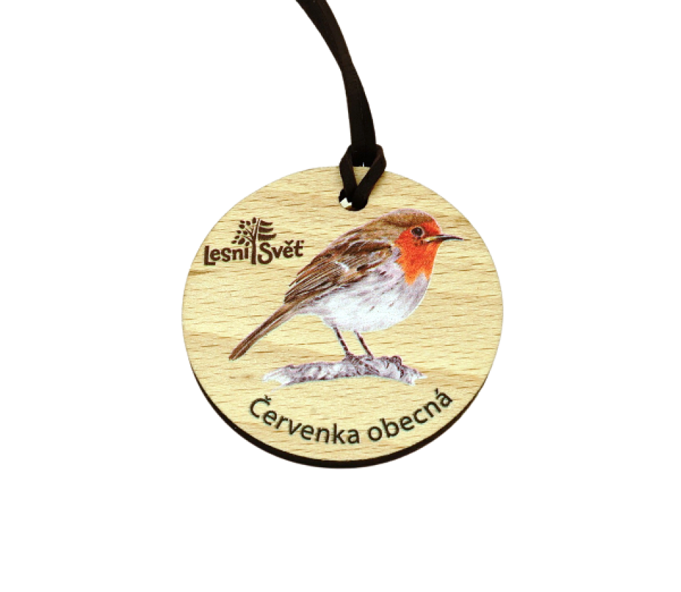 Dřevěná medaile masiv červenka