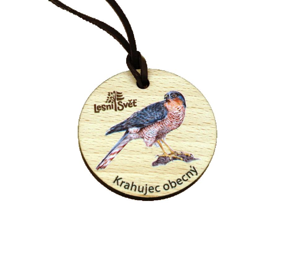 Dřevěná medaile masiv krahujec