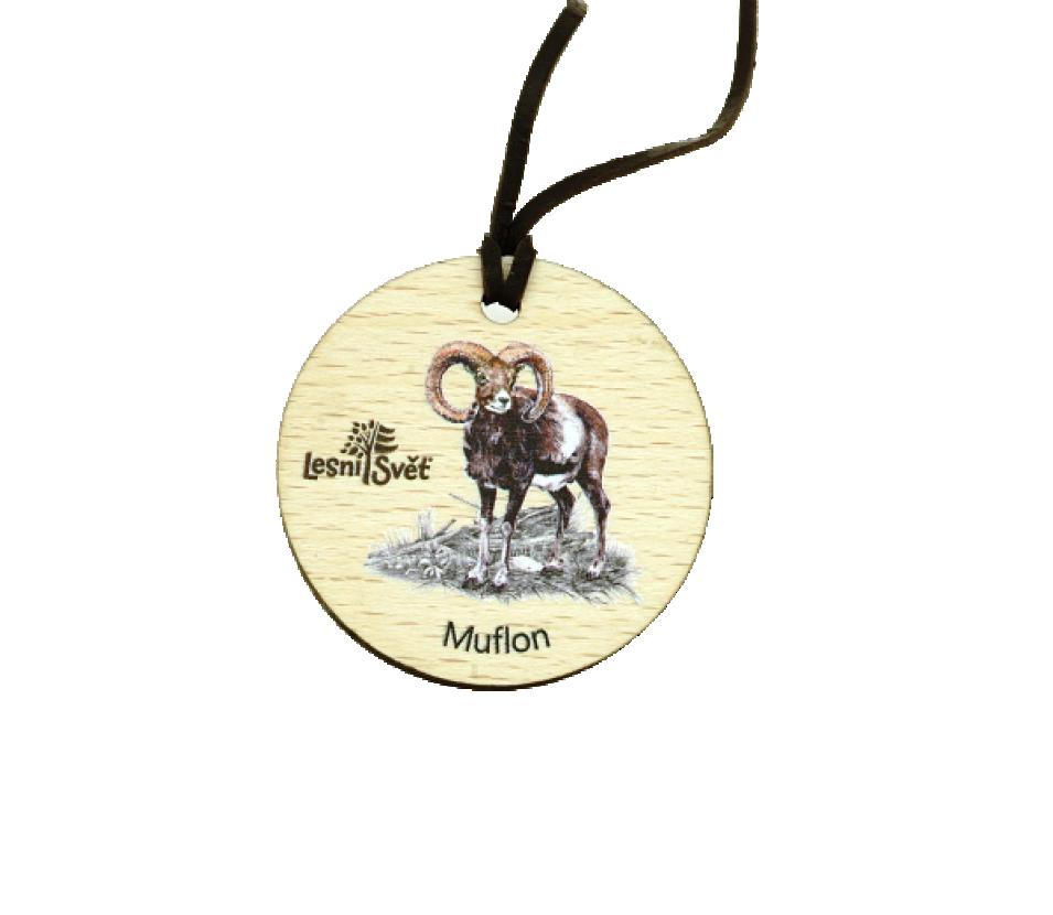 Dřevěná medaile masiv muflon