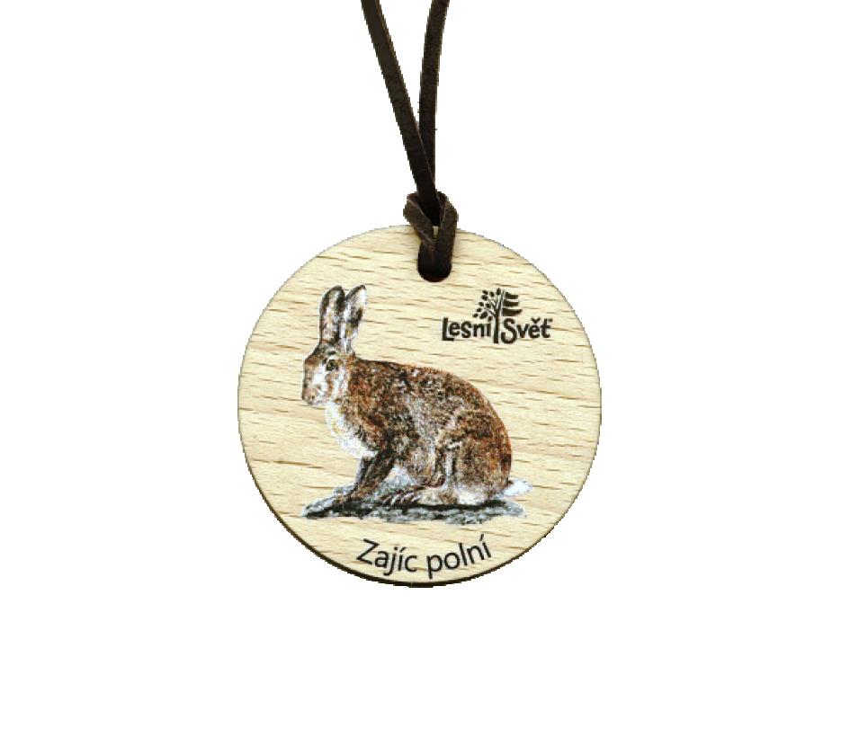 Dřevěná medaile masiv zajíc