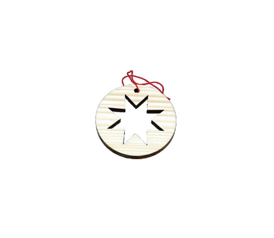 Ozdoby dřevěné kolečko s hvězdou