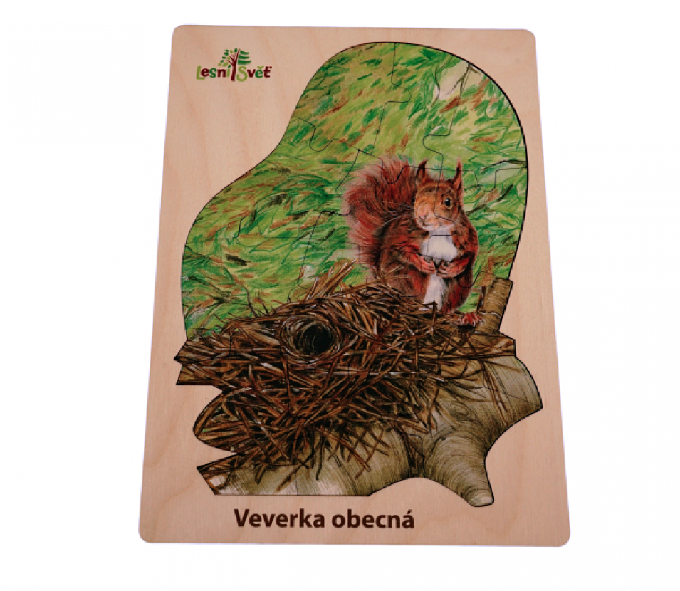 Puzzle z lesa veverka